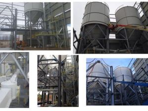 Structure, silos, process transport de ciment